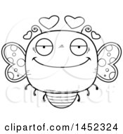 Cartoon Black And White Lineart Loving Butterfly Character Mascot