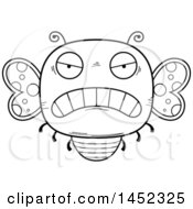 Poster, Art Print Of Cartoon Black And White Lineart Mad Butterfly Character Mascot