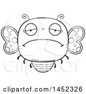 Poster, Art Print Of Cartoon Black And White Lineart Sad Butterfly Character Mascot