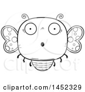 Clipart Graphic Of A Cartoon Black And White Lineart Surprised Butterfly Character Mascot Royalty Free Vector Illustration