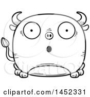 Clipart Graphic Of A Cartoon Black And White Lineart Surprised Bull Character Mascot Royalty Free Vector Illustration
