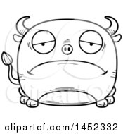 Cartoon Black And White Lineart Sad Bull Character Mascot