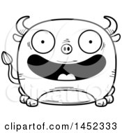 Clipart Graphic Of A Cartoon Black And White Lineart Happy Bull Character Mascot Royalty Free Vector Illustration
