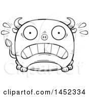 Clipart Graphic Of A Cartoon Black And White Lineart Scared Bull Character Mascot Royalty Free Vector Illustration