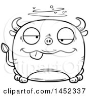 Cartoon Black And White Lineart Drunk Bull Character Mascot