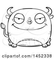 Cartoon Black And White Lineart Evil Bull Character Mascot