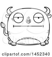 Cartoon Black And White Lineart Bored Bull Character Mascot