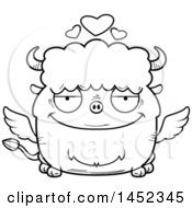 Cartoon Black And White Lineart Loving Winged Buffalo Character Mascot