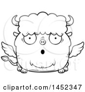 Clipart Graphic Of A Cartoon Black And White Lineart Surprised Winged Buffalo Character Mascot Royalty Free Vector Illustration