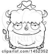 Clipart Graphic Of A Cartoon Black And White Lineart Loving Buffalo Character Mascot Royalty Free Vector Illustration