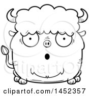 Cartoon Black And White Lineart Surprised Buffalo Character Mascot