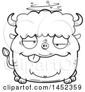 Cartoon Black And White Lineart Drunk Buffalo Character Mascot