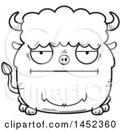 Cartoon Black And White Lineart Bored Buffalo Character Mascot