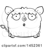 Clipart Graphic Of A Cartoon Black And White Lineart Surprised Boar Character Mascot Royalty Free Vector Illustration