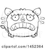 Cartoon Black And White Lineart Scared Boar Character Mascot