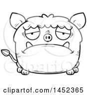 Cartoon Black And White Lineart Sad Boar Character Mascot