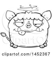 Cartoon Black And White Lineart Drunk Boar Character Mascot