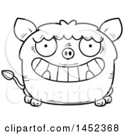 Cartoon Black And White Lineart Grinning Boar Character Mascot