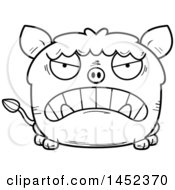 Cartoon Black And White Lineart Mad Boar Character Mascot