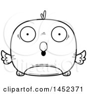 Clipart Graphic Of A Cartoon Black And White Lineart Surprised Bird Character Mascot Royalty Free Vector Illustration