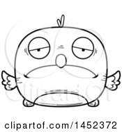 Cartoon Black And White Lineart Sad Bird Character Mascot