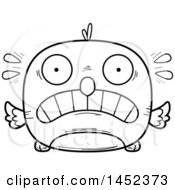 Cartoon Black And White Lineart Scared Bird Character Mascot