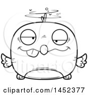Clipart Graphic Of A Cartoon Black And White Lineart Drunk Bird Character Mascot Royalty Free Vector Illustration