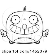 Cartoon Black And White Lineart Grinning Bird Character Mascot