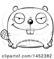 Clipart Graphic Of A Cartoon Black And White Lineart Evil Beaver Character Mascot Royalty Free Vector Illustration