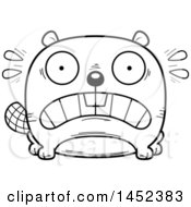 Clipart Graphic Of A Cartoon Black And White Lineart Scared Beaver Character Mascot Royalty Free Vector Illustration