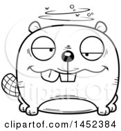 Clipart Graphic Of A Cartoon Black And White Lineart Drunk Beaver Character Mascot Royalty Free Vector Illustration