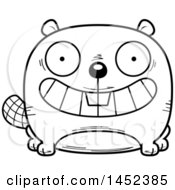 Clipart Graphic Of A Cartoon Black And White Lineart Grinning Beaver Character Mascot Royalty Free Vector Illustration