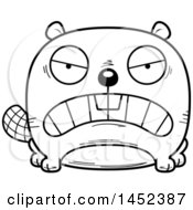 Clipart Graphic Of A Cartoon Black And White Lineart Mad Beaver Character Mascot Royalty Free Vector Illustration