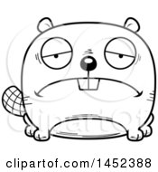 Clipart Graphic Of A Cartoon Black And White Lineart Sad Beaver Character Mascot Royalty Free Vector Illustration