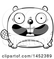 Clipart Graphic Of A Cartoon Black And White Lineart Happy Beaver Character Mascot Royalty Free Vector Illustration