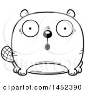 Clipart Graphic Of A Cartoon Black And White Lineart Surprised Beaver Character Mascot Royalty Free Vector Illustration