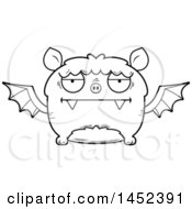 Clipart Graphic Of A Cartoon Black And White Lineart Bored Flying Bat Character Mascot Royalty Free Vector Illustration
