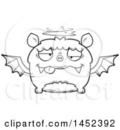 Clipart Graphic Of A Cartoon Black And White Lineart Drunk Flying Bat Character Mascot Royalty Free Vector Illustration