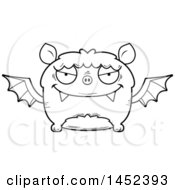 Clipart Graphic Of A Cartoon Black And White Lineart Evil Flying Bat Character Mascot Royalty Free Vector Illustration