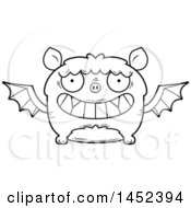 Clipart Graphic Of A Cartoon Black And White Lineart Grinning Flying Bat Character Mascot Royalty Free Vector Illustration