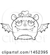 Cartoon Black And White Lineart Loving Flying Bat Character Mascot