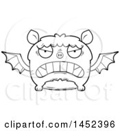 Clipart Graphic Of A Cartoon Black And White Lineart Mad Flying Bat Character Mascot Royalty Free Vector Illustration