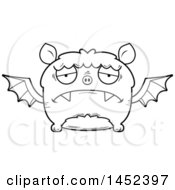 Clipart Graphic Of A Cartoon Black And White Lineart Sad Flying Bat Character Mascot Royalty Free Vector Illustration