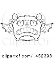 Clipart Graphic Of A Cartoon Black And White Lineart Scared Flying Bat Character Mascot Royalty Free Vector Illustration