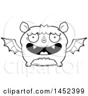Clipart Graphic Of A Cartoon Black And White Lineart Happy Flying Bat Character Mascot Royalty Free Vector Illustration