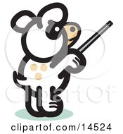 Dog Standing On His Hind Legs And Using A Pointer Stick To Point Something Out Or Using A Wand To Conduct An Orchestra Clipart Illustration