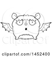 Clipart Graphic Of A Cartoon Black And White Lineart Surprised Flying Bat Character Mascot Royalty Free Vector Illustration