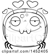 Cartoon Black And White Lineart Loving Ant Character Mascot