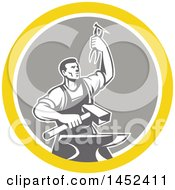 Clipart Of A Retro Male Blacksmith Holding Up Pliers Over A Sledgehammer And Anvil In A Yellow White And Gray Circle Royalty Free Vector Illustration