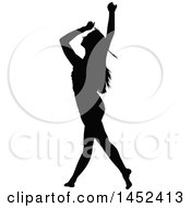 Clipart Of A Black Silhouetted Woman Dancing Royalty Free Vector Illustration